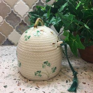 Belleek Shamrock Honey Pot